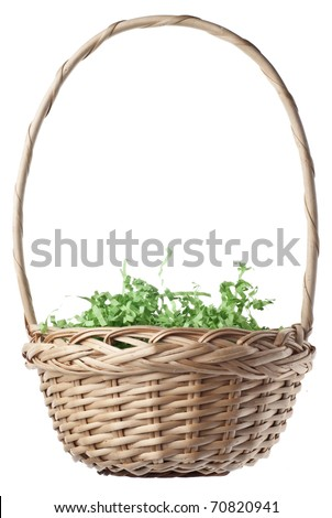 Empty Easter Basket with Green Grass Isolated on White with a Clipping Path. - stock photo