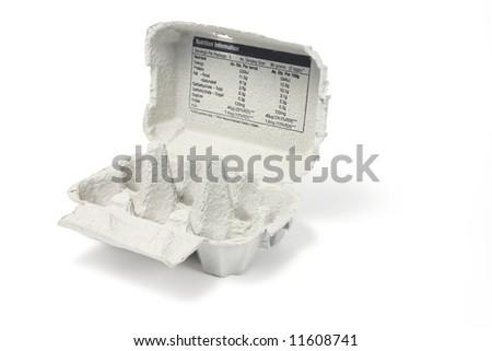 Empty Egg Carton on White Background - stock photo