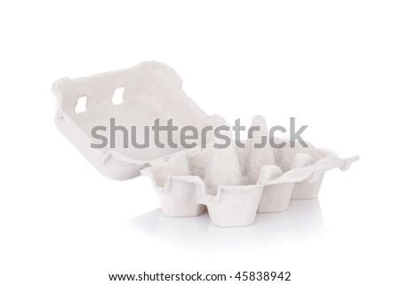Empty eggs box isolated on white background - stock photo