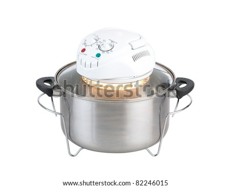 Empty electric convection oven - stock photo