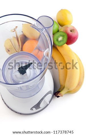 Empty electrical blender whit fruits, isolated on white background - stock photo