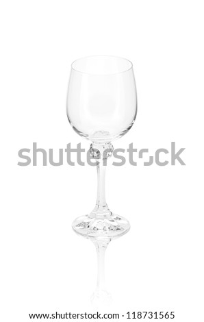 empty  elegant crystal wineglass with reflection, isolated - stock photo