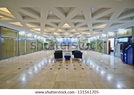 Empty entrance hall interior in office building - stock photo