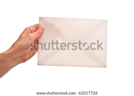 Empty envelope in woman's hand. Isolated on white - stock photo