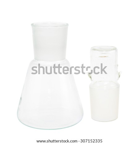 Empty Erlenmeyer flask with the cap. isolated over the white background