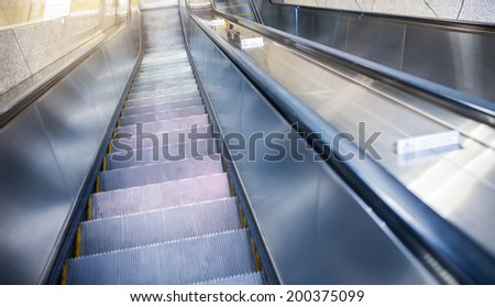 Empty escalator stairs in the Terminal ( Mall )