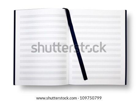 Empty exercise book with pentagrams, bookmark on white and shadow. - stock photo