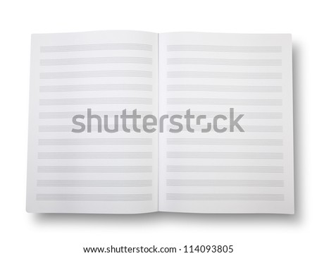 Empty exercise book with pentagrams on white and shadow (clipping path) - stock photo