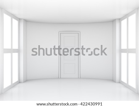 Empty exhibition room with windows and door. 3D rendering - stock photo