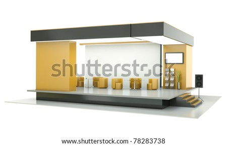 Empty exhibition stand. 3D render. - stock photo