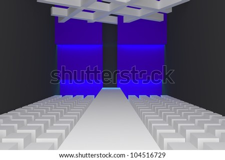 Empty fashion runway purple color lighting and blue wall. - stock photo