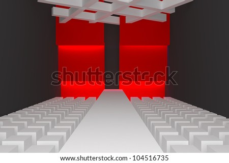 Empty fashion runway purple color lighting and red wall. - stock photo