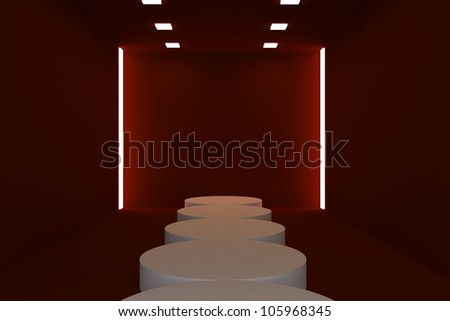 Empty fashion runway red color lighting and black wall. - stock photo