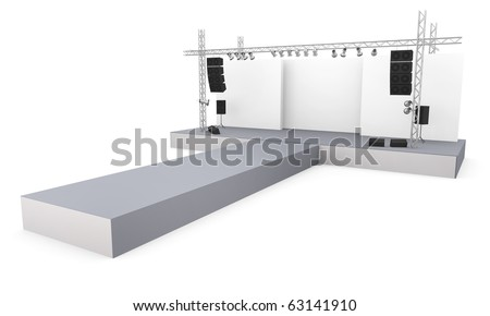 Empty fashion show stage with runway. 3D rendered image.