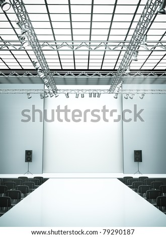 Empty fashion show stage with runway. 3D rendered image. - stock photo