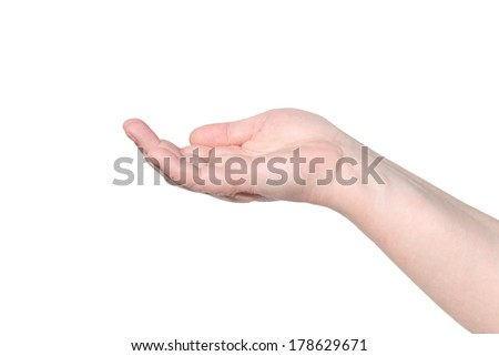 Empty female hand being holding out . Isolated on white.