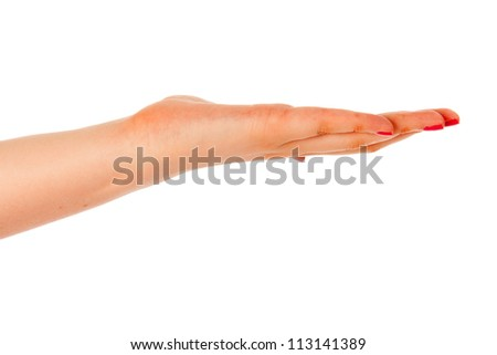 Empty female hand is holding up