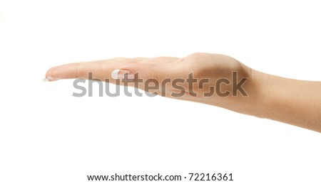 Empty female hand isolated on white - perfect to place your own objects in it! - stock photo