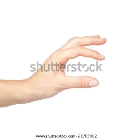 Empty female hand pretending holding something, isolated on white background - stock photo