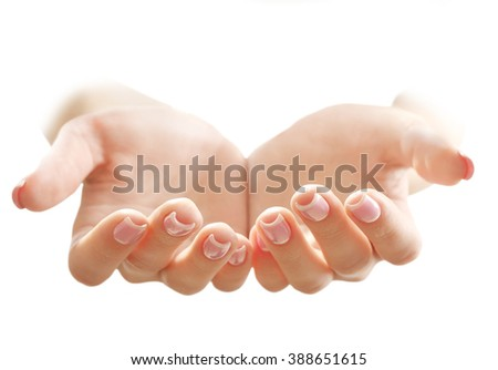 Empty female hands, isolated on white - stock photo