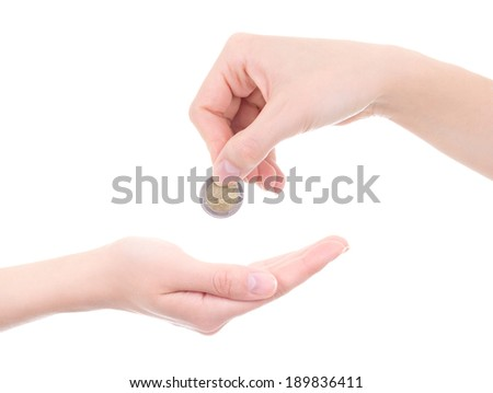 empty female palm and hand holding euro coin isolated on white background - stock photo