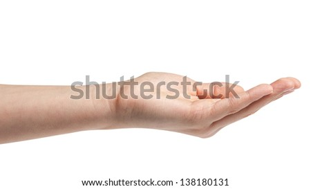empty female teen hand isolated on white