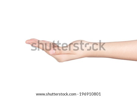 empty female woman hand holding isolated on white, include clipping path.