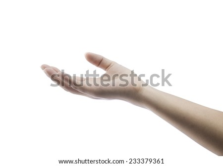 empty female woman hand holding isolated on white with clipping path - stock photo