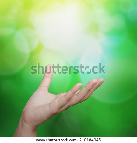 empty female woman hand holding on nature background - stock photo