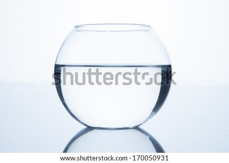 Empty fish bowl with water - stock photo
