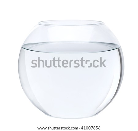 Empty fish bowl with water in front of white background, studio shot - stock photo