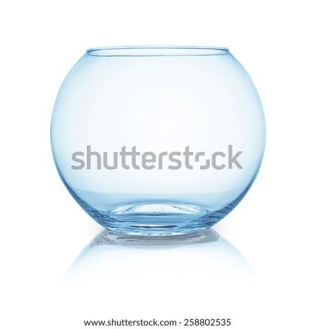 empty fishbowl on white background - stock photo