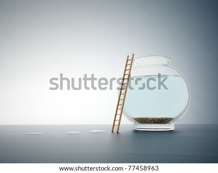 Empty fishbowl with a ladder - independence and freedom concept illustration - stock photo