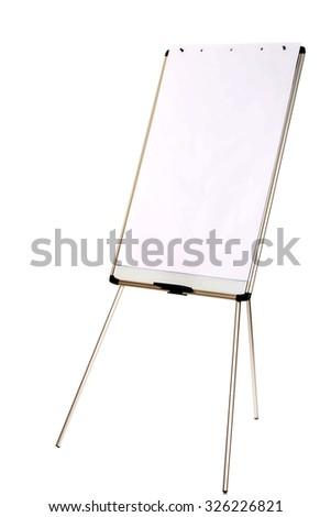 Empty flip chart standing on the floor. - stock photo