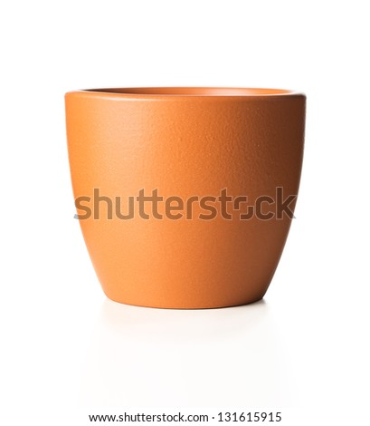 Empty flower pot isolated on white background - stock photo