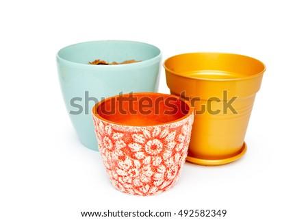 Empty Flower Pot Isolated On White Background