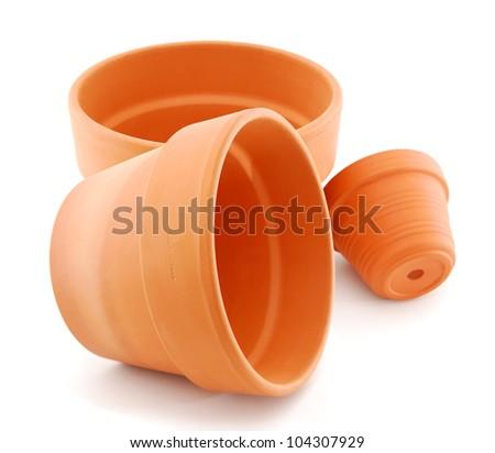 Empty flower pots on white - stock photo