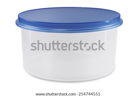 Empty food plastic container with blue lid isolated on white - stock photo