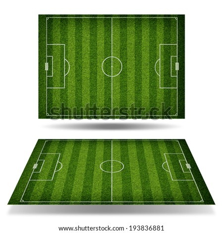 Empty football field with markup. View from above. Sports Concept - stock photo