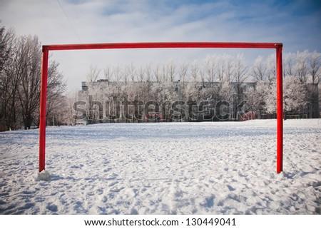 Empty football gate in winter season