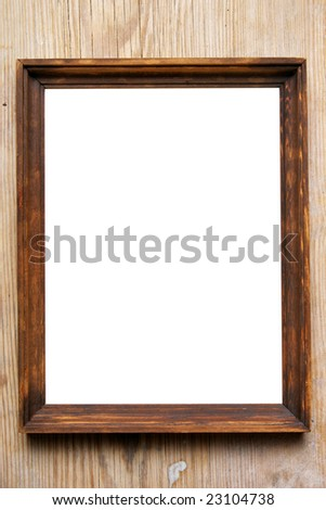 Empty frame close-up over wood wall - stock photo