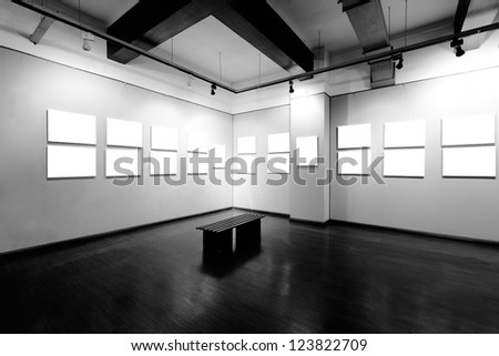 empty frame in art museum - stock photo