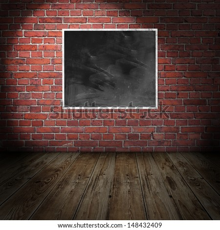 Empty frame in vintage room - stock photo