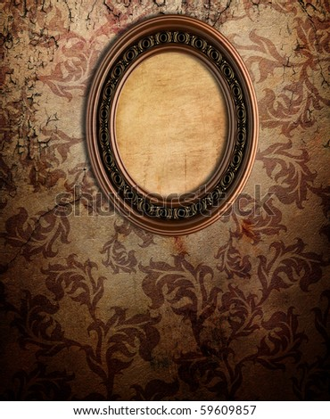 Empty frame on old wall - stock photo