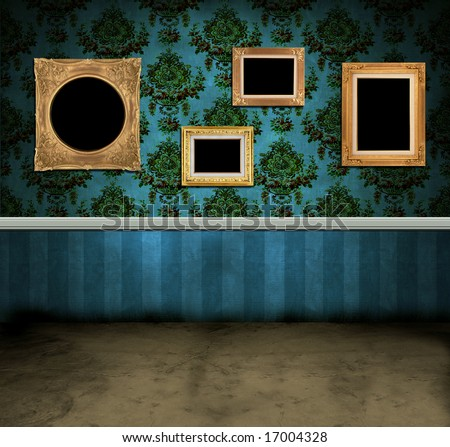 Empty frames hanging on the wall of a dark vintage room - stock photo