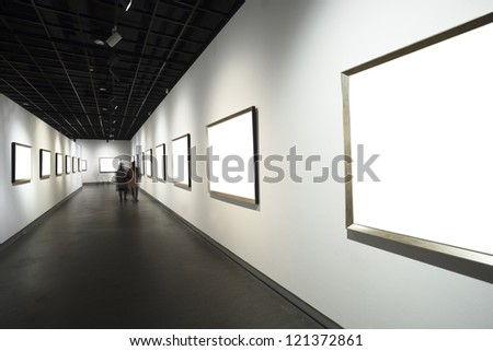 empty frames in museum - stock photo
