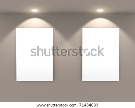 Empty frames on wall - stock photo