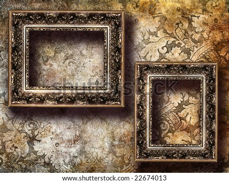 Empty Frames Over Old Wallpaper Stock Illustration 22674013 ...