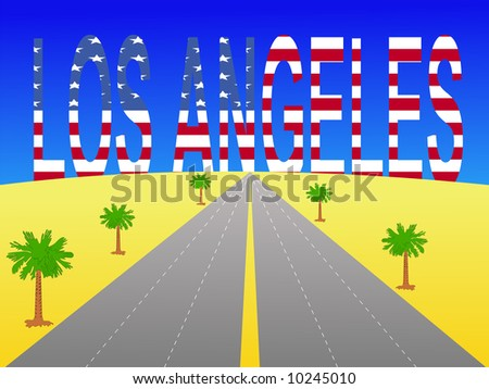 Empty freeway towards Giant Los Angeles text with American flag JPG - stock photo