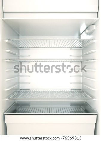 Empty fridge interior. 3D render. - stock photo